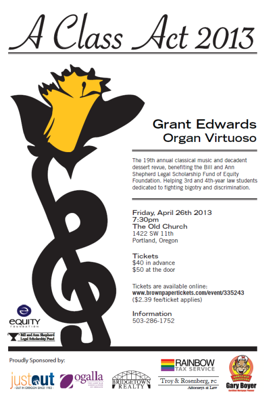A Class Act to benefit Shepherd Scholarship, April 26